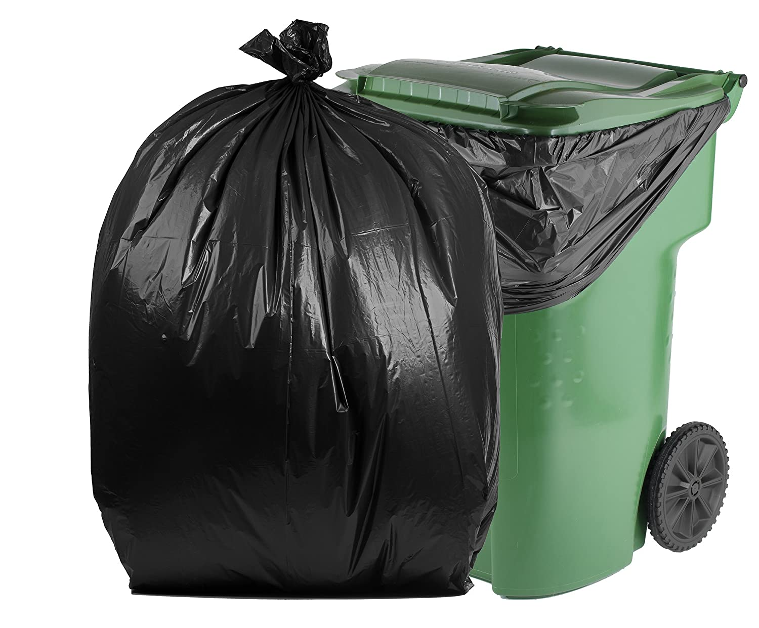 PM-6779-13-B-50 1.3 Mil PlasticMill 100 Gallon Black 50 Bags//Case 67x79 Garbage Bags//Trash Can Liners