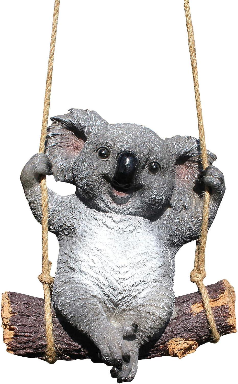 BUICCE Koala Bear Swing Creative Garden Decor Statue Hanging Cute Funny Animal Resin Simulation Animal Sculpture Landscape for Yard Ornament Outdoor Indoor.