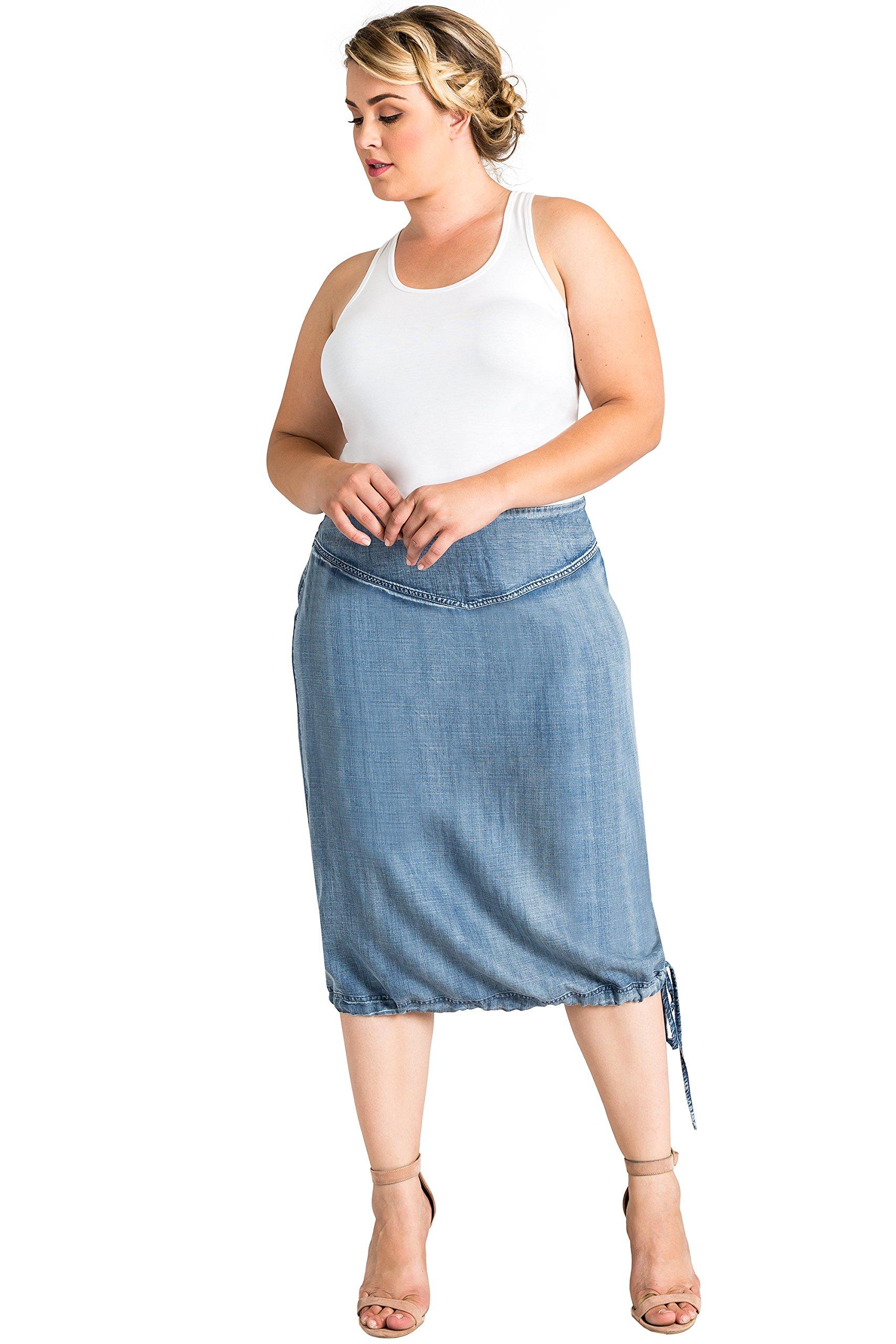 Standards & Practices Curvy Women's Plus Size Light Tencel Denim Adjustable Hem Skirt Size 1X by Standards & Practices
