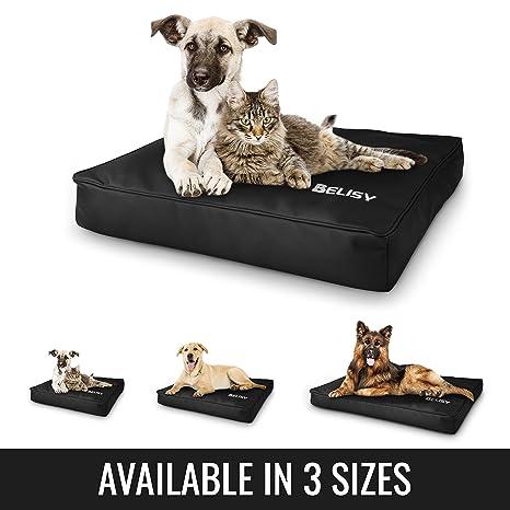 Colchoneta moderna para perro Belisy hecha de imitación de piel de alta calidad, cama para perro, negra