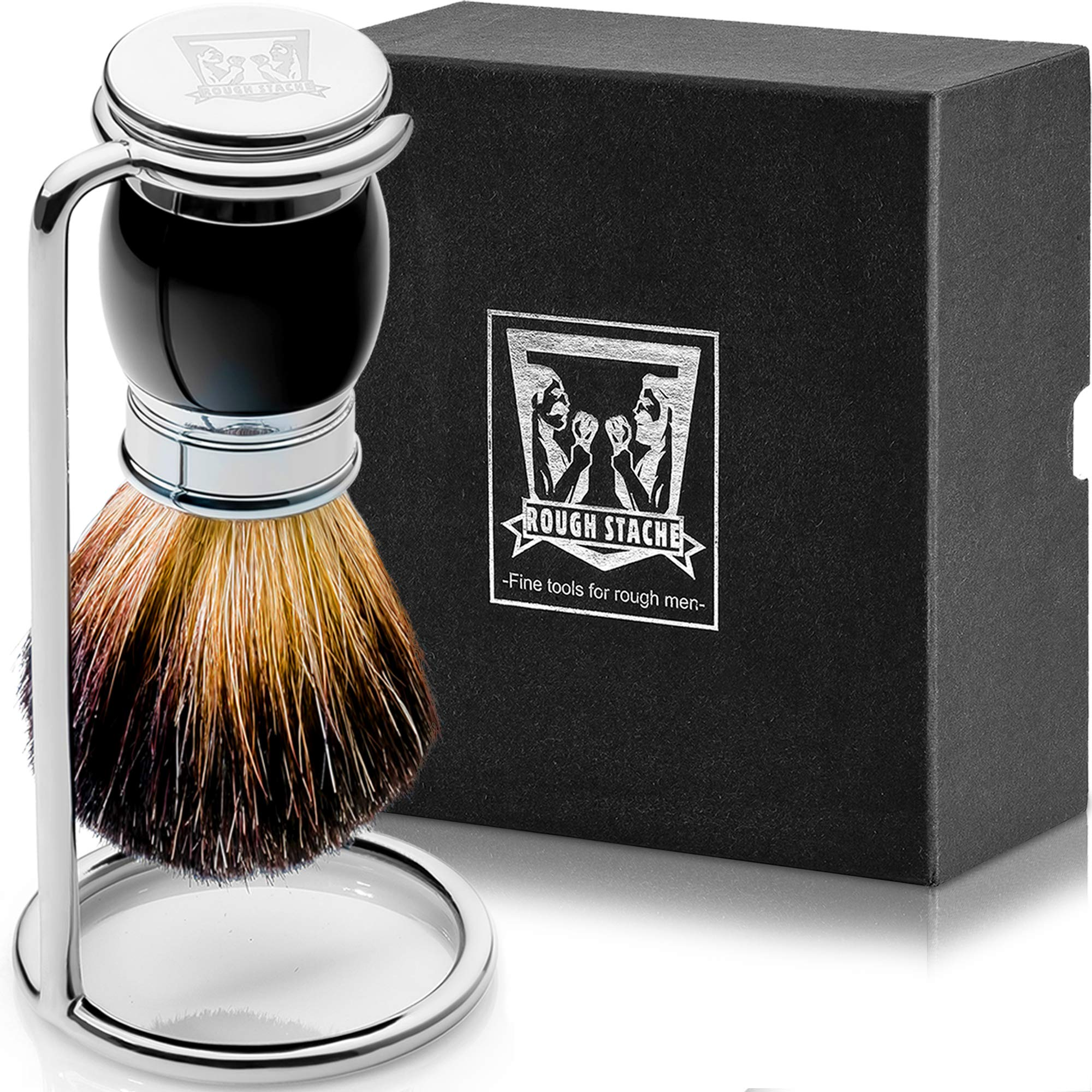 Shaving Brush Set - Professional Shaving Brush with 100% Pure Badger Bristles -Black Resin Handle - Solid Chrome Shaving Brush Stand for Wet Shave - Safety Razor by ROUGH STACHE