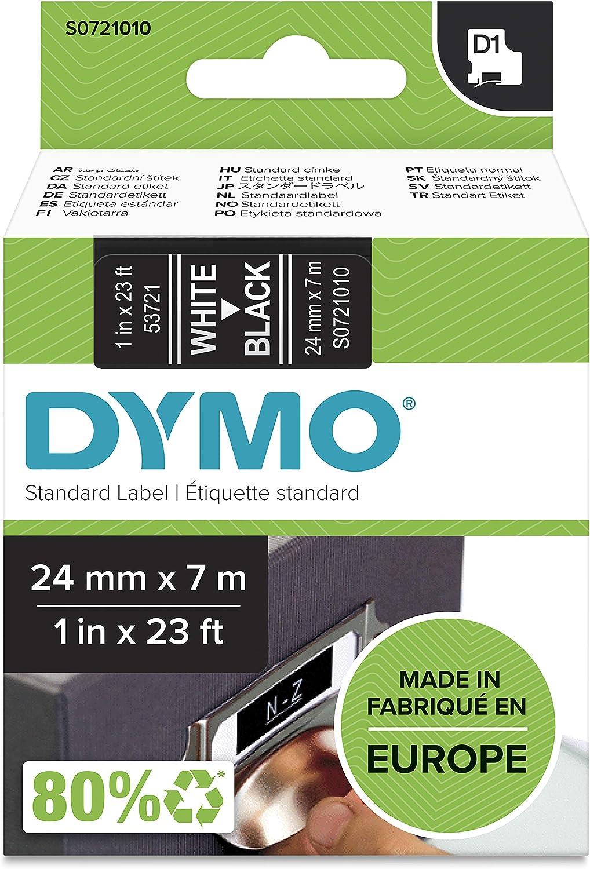 Dymo D1 Etikettenband Authentisch Weiß Auf Schwarz 24 Mm X 7 M Selbstklebendes Schriftband Für Labelmanager Beschriftungsgerät Bürobedarf Schreibwaren