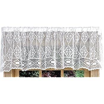 Diamond Crochet Valance Curtain 58 W X 14 L White