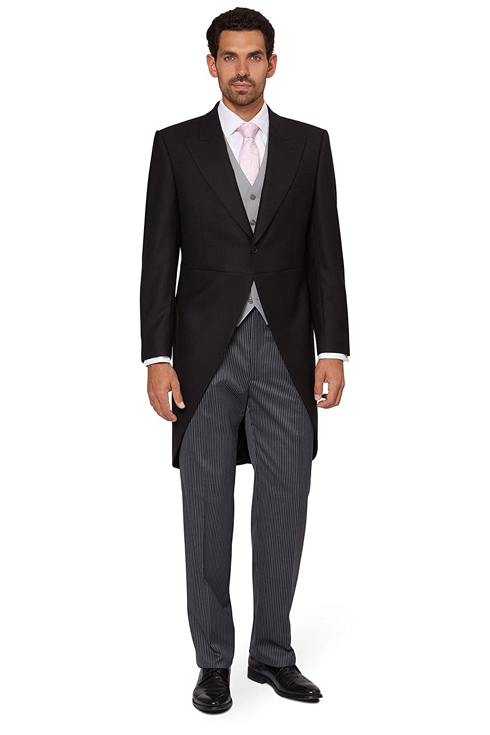 Men's Vintage Style Suits, Classic Suits  Regular Fit Black Fine Herringbone Morningwear Coat $300.00 AT vintagedancer.com