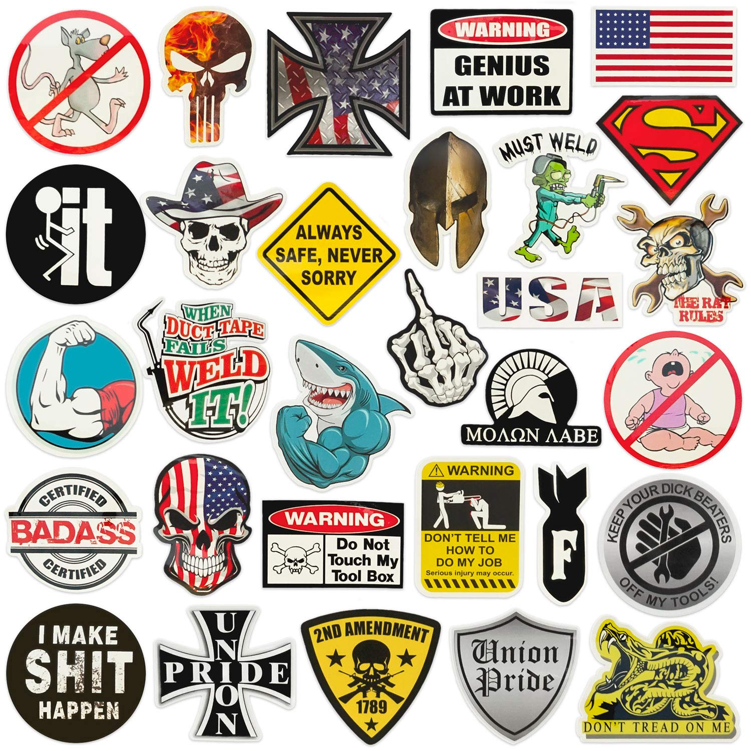 Hard hat Stickers |Big 30-Pack | Union American Patriotic Accessories for Helmet,Hardhat,Welding,Spartan,Construction,Molon Labe,Military,Ironworker,Lineman,Oilfield,Electrician,Pipeliner,Badass