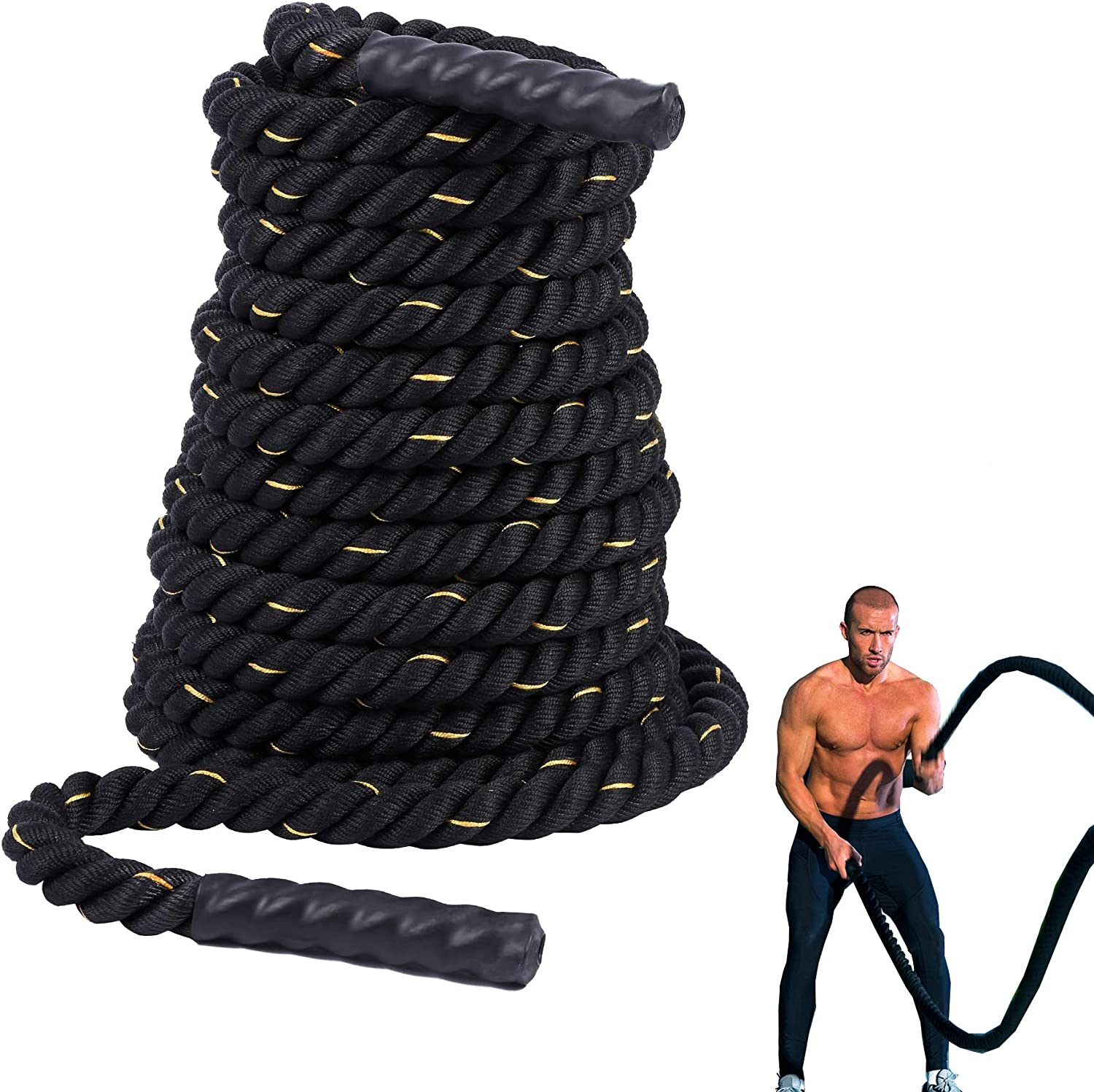 Details about  /1.5″ Battle Rope Poly Dacron Fitness Training Exercise Workout Cardio BLUE 40ft