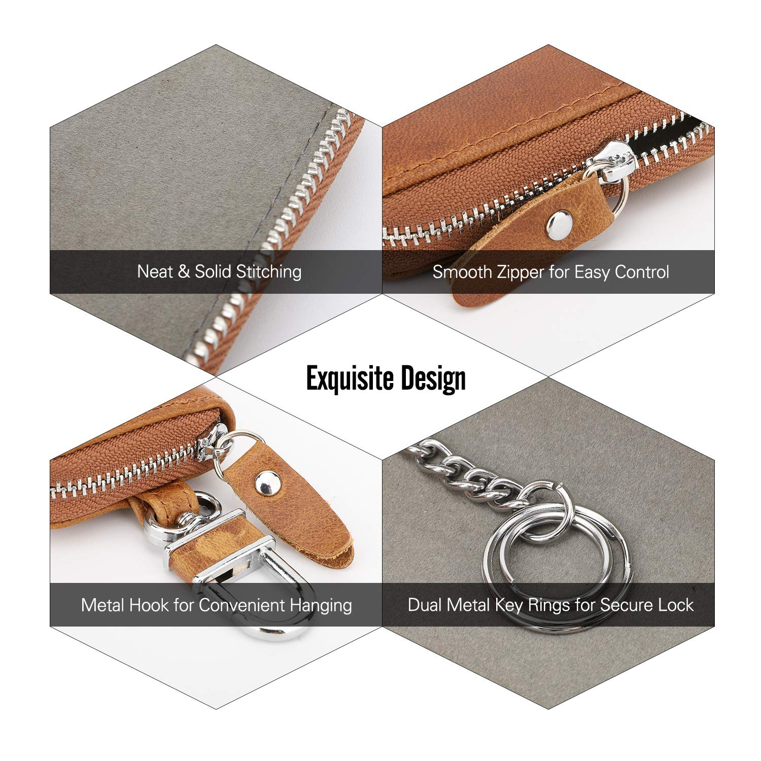 Retro Wax Leather Car Smart Keychain Coin Fob Punch Holder Wear-Resistant Key Zipper Bag with Metal Hook MoKo Car Key Case Support Remote Control Dark Coffee