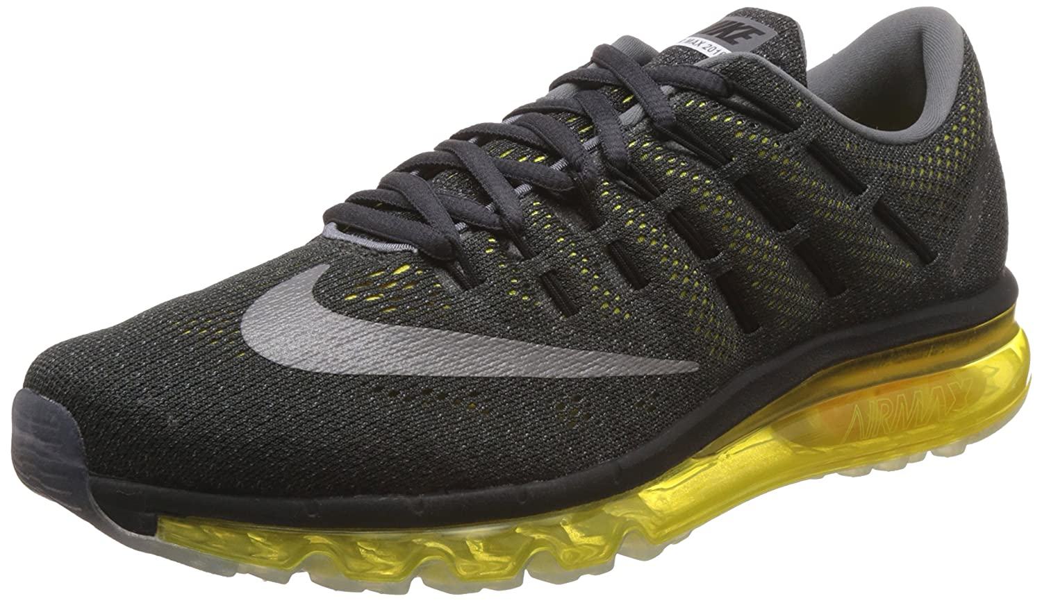 ead3aecb46 Nike Men's Air Max 2016 Anthracite, Reflect Silver and Optional Yellow Running  Shoes -7 UK/India (41 EU)(8 US): Buy Online at Low Prices in India -  Amazon. ...