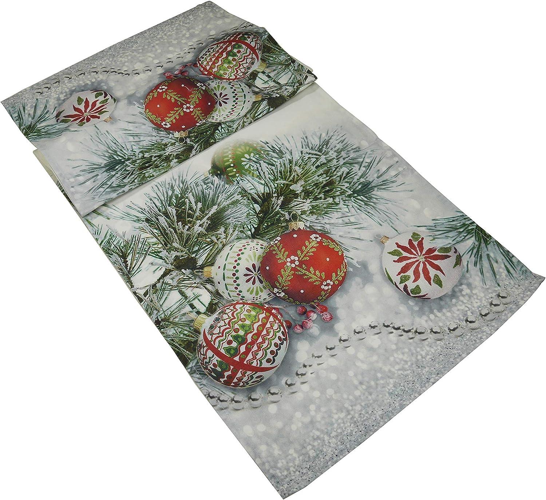 khevga Camino de Mesa Navidad Bolas Navideñas Rojo 40 x 140 cm ...