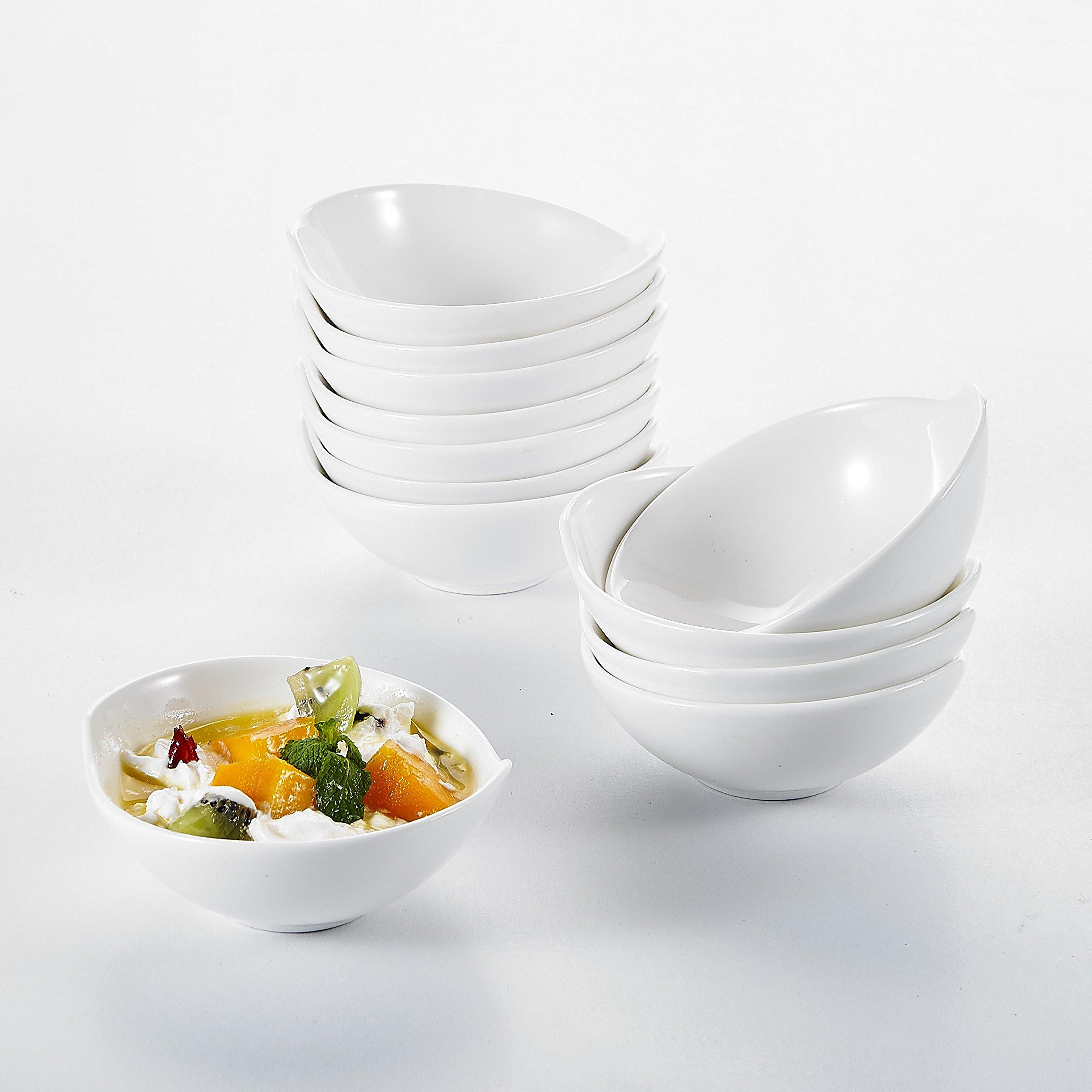 Malacasa, Series Ramekin, 4.3'' Ivory White Porcelain Serving Dishes 3.4oz Ramekins Dipping Bowl Set of 12