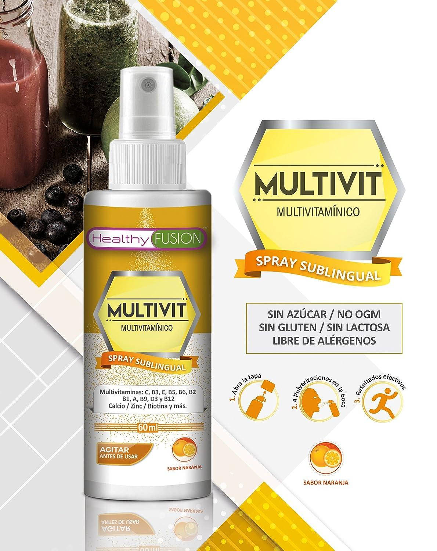 Potente Complejo Multivitamínico en spray sublingual con Vitaminas C, B3, E, B5, B6, B2, B1, A, B9, D3, B12, Biotina y Minerales como el Calcio y el Zinc ...