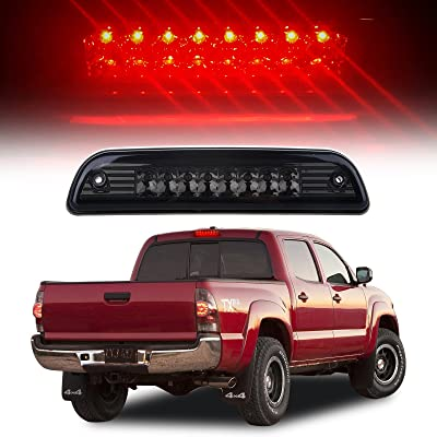 High Mount Stop Lights Full Rear LED 3RD Third Red Brake Tail Light Replacement fit for 1995-2016 Toyota Tacoma Truck (Smoke): Automotive