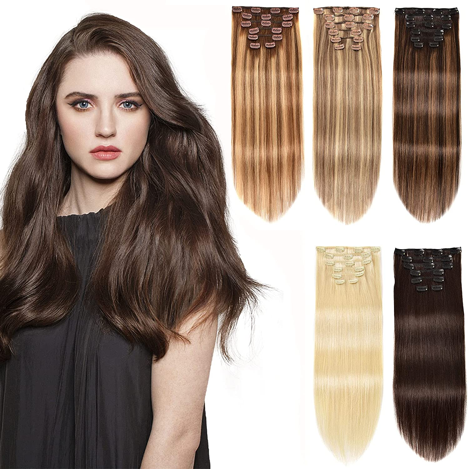 Nashville-Davidson Mall 22'' Remy Black Clip in Hair Extensions Inventory cleanup selling sale Women for H