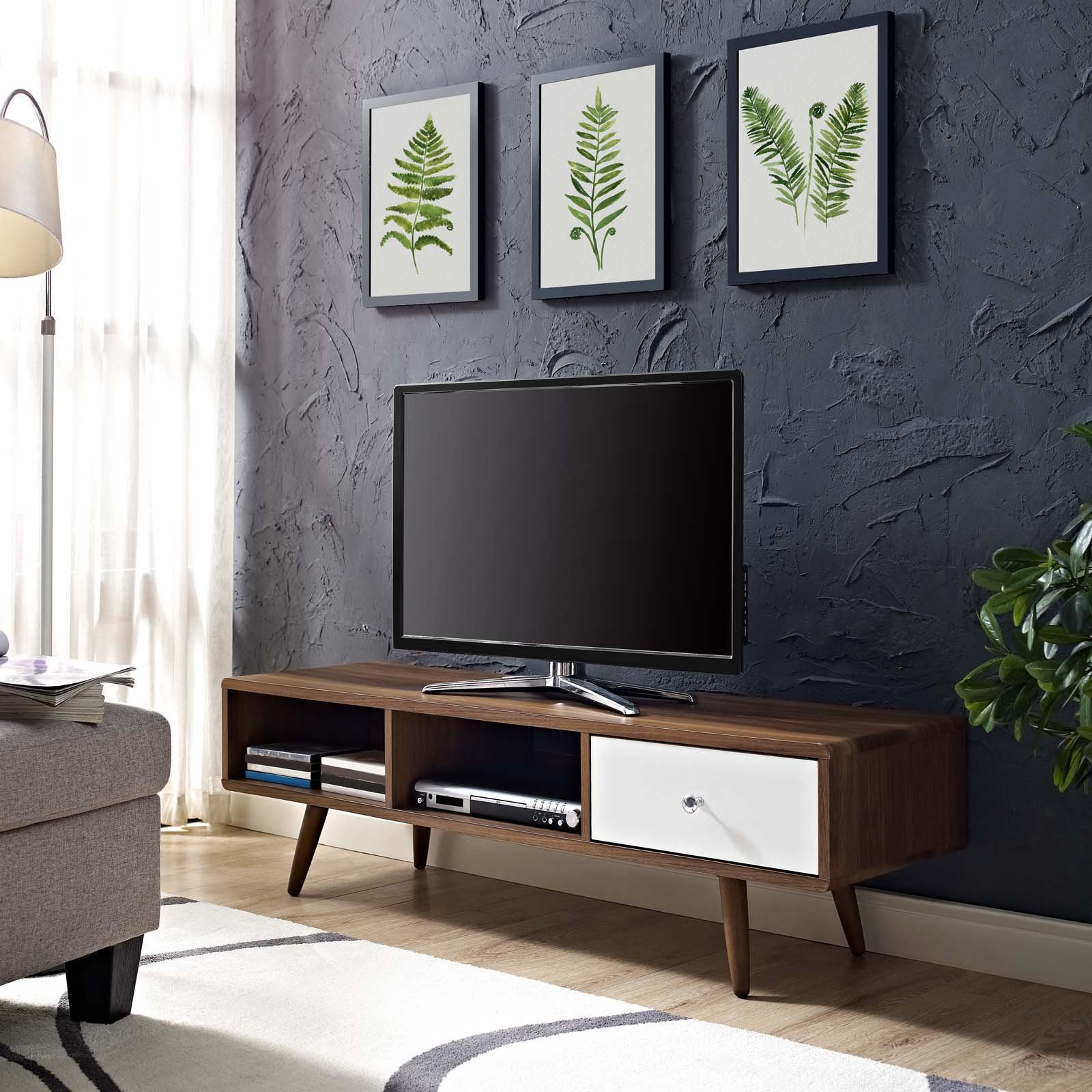 Modway Transmit Mid-Century Modern Low Profile 55 Inch TV Stand in Walnut by Modway