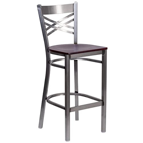 Flash Furniture HERCULES Series Clear Coated X Back Metal Restaurant Barstool – Mahogany Wood Seat