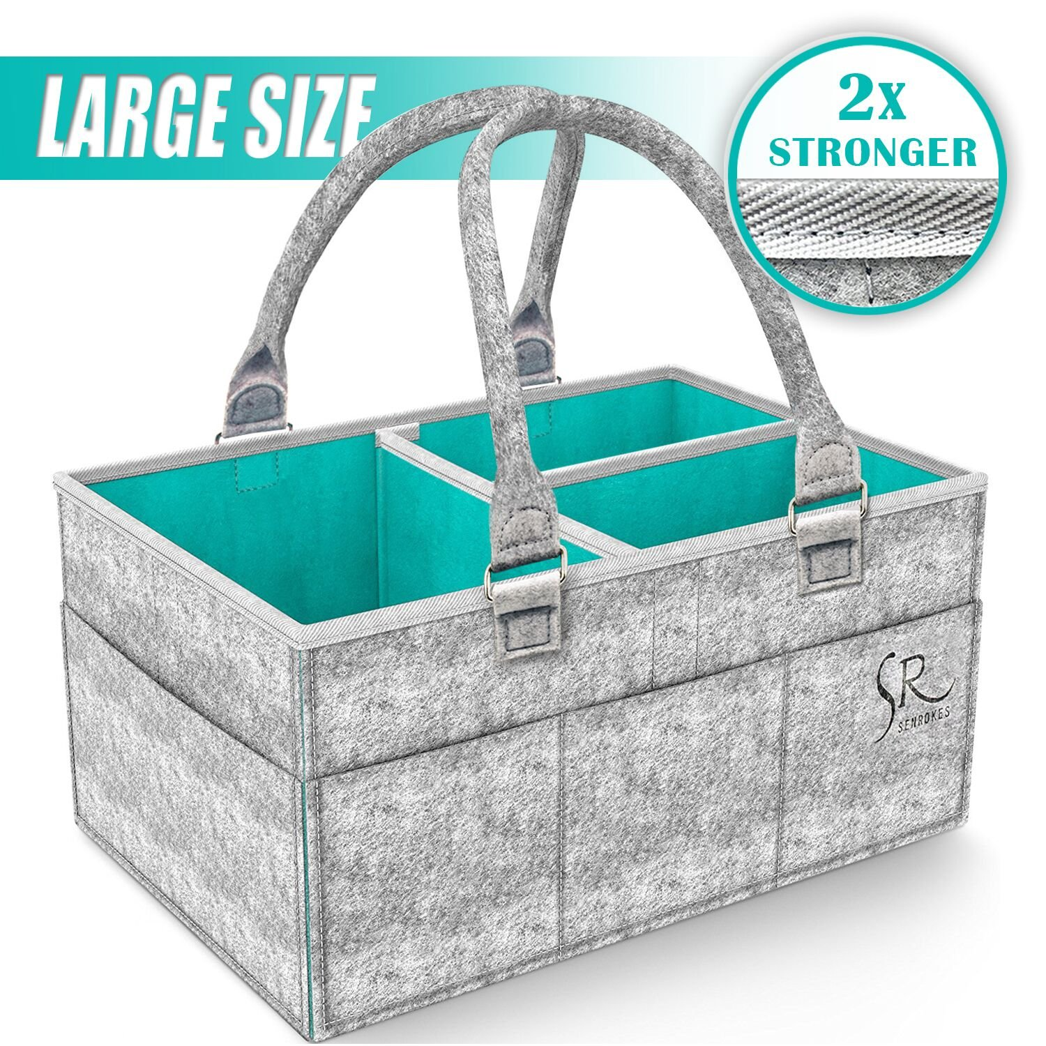 Baby Diaper Caddy Organiser - Rokkes Nursery Storage Portable Diaper Caddy Organaizer Baby Shower Gift Baskets with Changeable Insert for Baby Diapers, Wipes and Toys to Household, Car and Travel.(Grey)