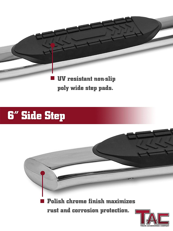 2003-2009 Dodge Ram 2500//3500 Quad Cab 6 Oval Bend T304 Stainless Steel Side Bars Step Rails Nerf Bars Off Road Accessories 2 Pcs TAC Side Steps Running Boards Fit 2002-2008 Dodge Ram 1500 Quad Cab