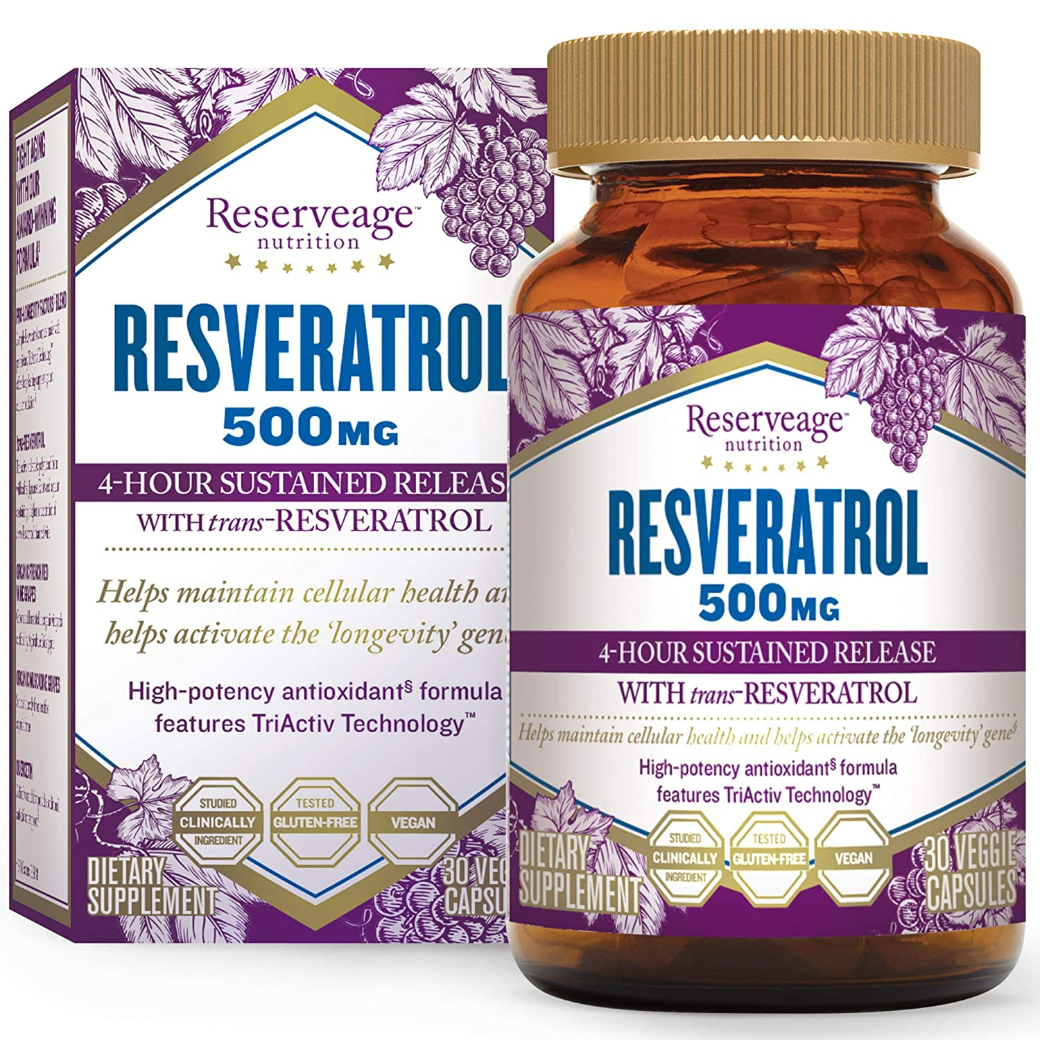 Amazon Com Reserveage Resveratrol 500 Mg Antioxidant