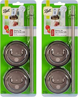 product image for Ball Drinkware Series Regular Mouth Lid Covers and Straws 2 pk