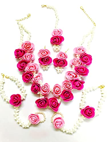 2d015a344 Buy QUVYARTS Floret Pearl Designer Pink Flower Jewellery Set with 6 Items  for Women Online at Low Prices in India | Amazon Jewellery Store - Amazon.in