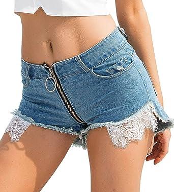 b4d4fab017b Yollmart Women's Sexy Lace Mini Hot Pants Cut Off Denim Jeans Shorts Pants-S