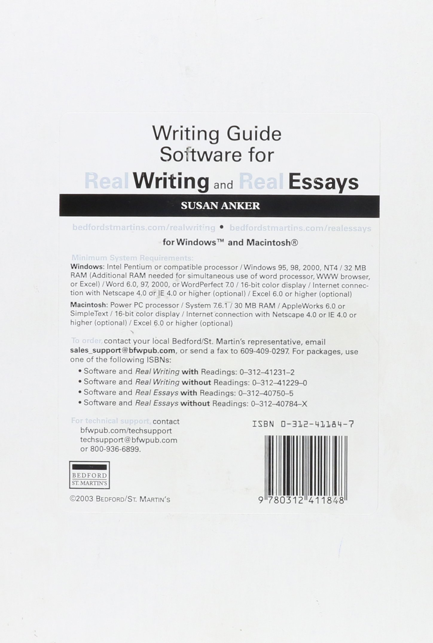 Science Argumentative Essay Topics Writing Guide Software For Real Writing And Real Essays Susan Anker   Amazoncom Books Essay About Science And Technology also English Is My Second Language Essay Writing Guide Software For Real Writing And Real Essays Susan Anker  Personal Essay Examples High School