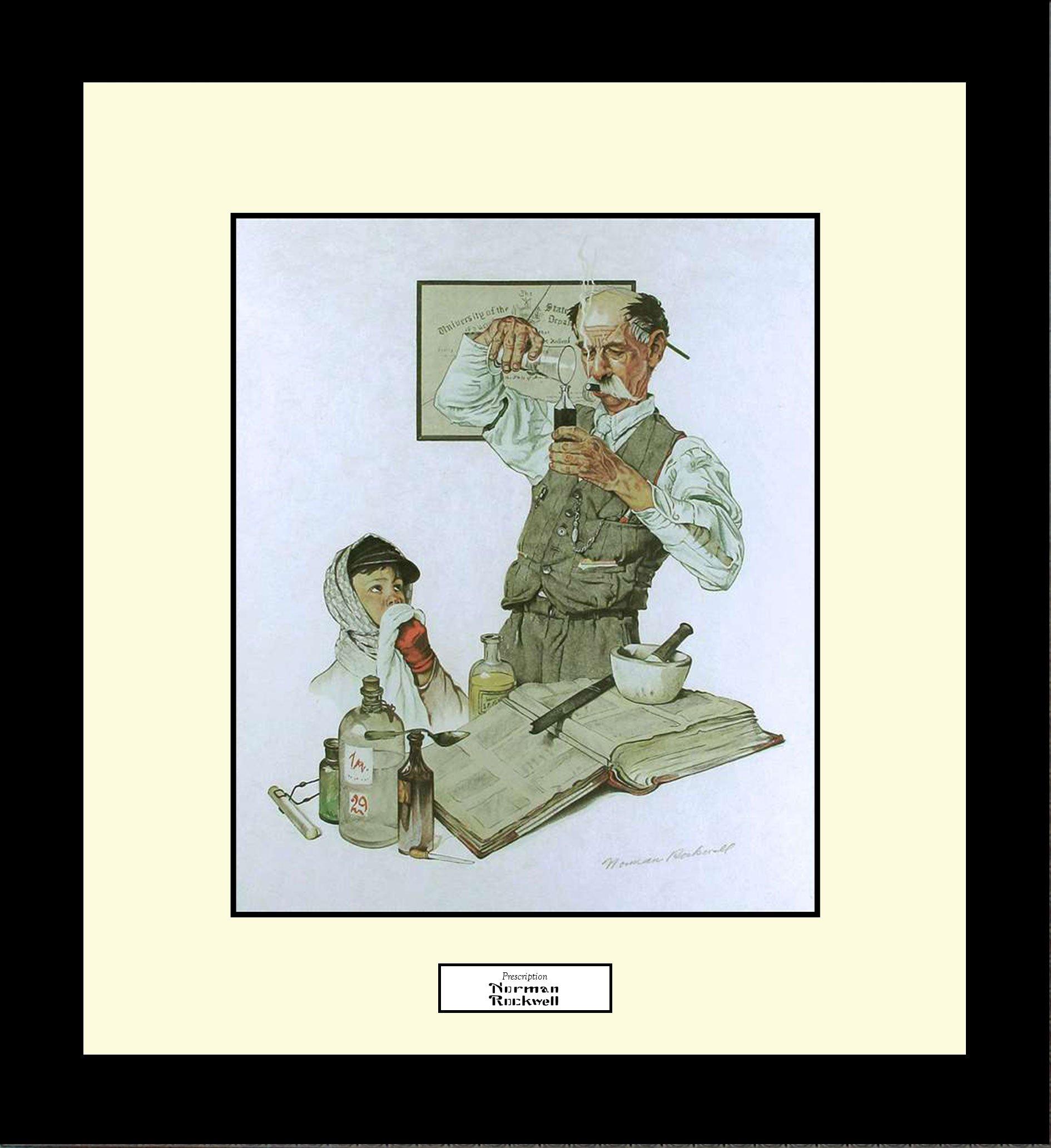 Norman Rockwell PRESCRIPTION Framed Pharmacist Pharmacy Medicine Wall Hanging Art Gift