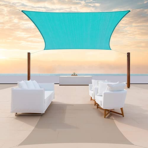 ColourTree CTAPR1416 Custom Size 21' x 22' Turquoise Sun Shade Sail Canopy UV Block Rectangle