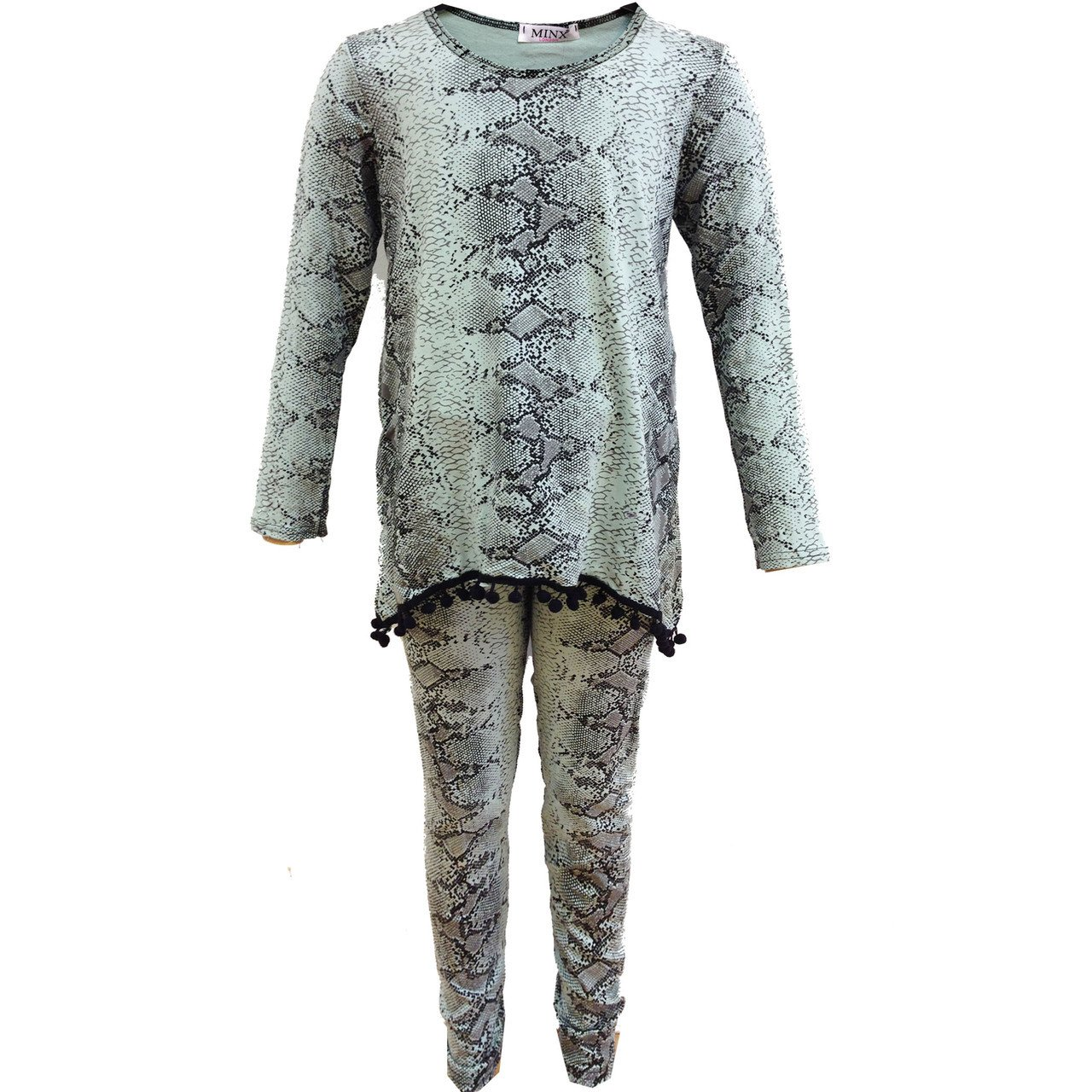 Fashion Oasis Girls Snake Print Pom Pom Tracksuit Loungewear 2 Piece Suit In Red, Black,Salmon, Yellow, Pink & Mint Green Ages 2-3, 3-4, 5-6, 7-8. 9-10. 11-12 & 13