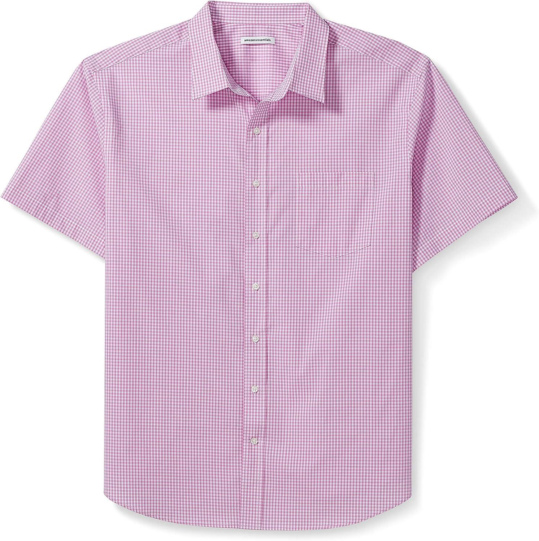 Amazon Essentials Men's Big & Tall Short-Sleeve Gingham Shirt fit by DXL