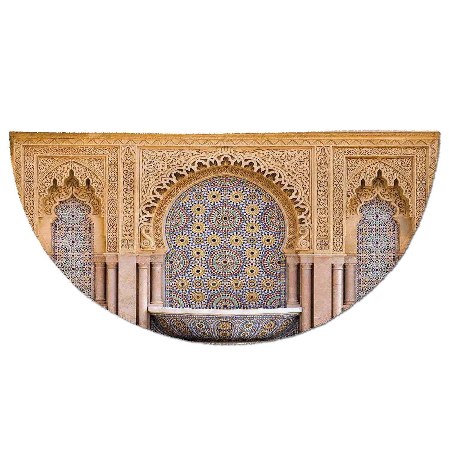 Half Round Door Mat Entrance Rug Floor Mats,Moroccan Decor,Typical Moroccan Tiled Fountain in the City of Rabat Near the Hassan Tower,Garage Entry Carpet Decor for House Patio Grass Water
