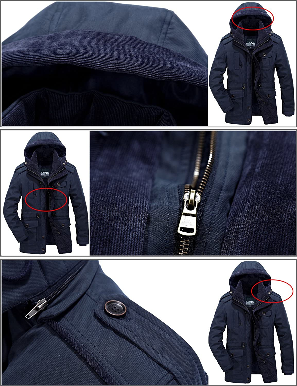 Mr.Stream Mens Winter 3-in-1 Hooded Jacket Windproof Faux Fur Lined Windbreaker Coat Outerwear Warm Parka
