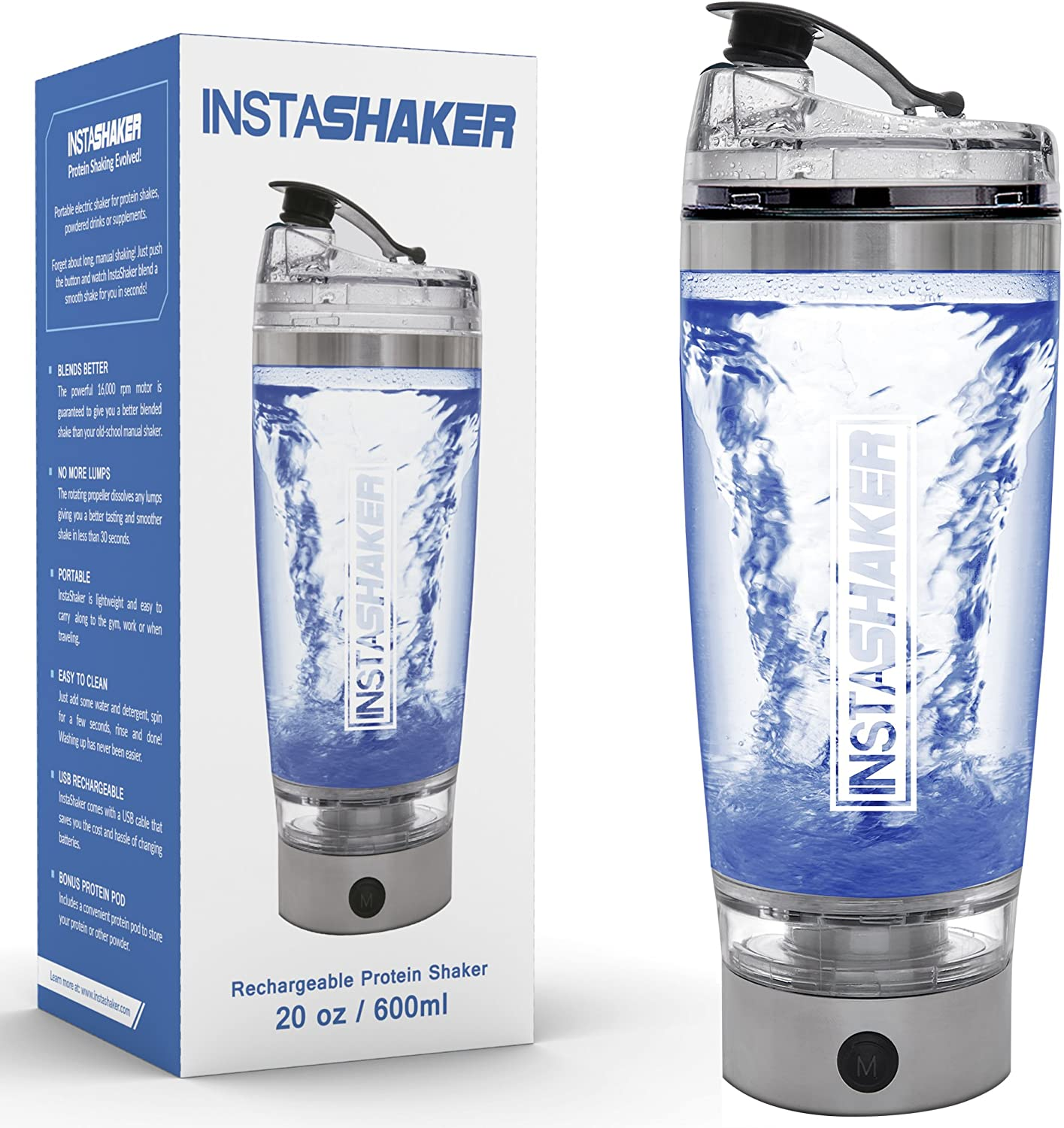 InstaShaker (New Model) Protein Shaker Bottle 20 oz. Vortex Mixer Cup. USB Rechargeable. Complimentary Powder Storage Compartment