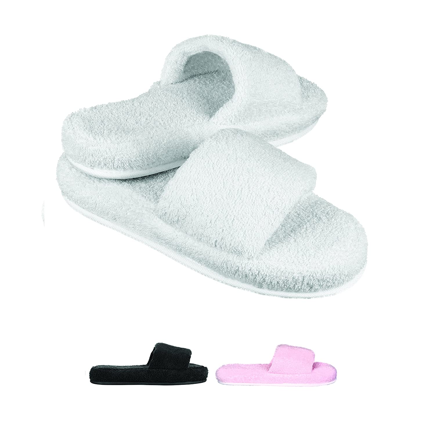 Women Cozy Memory Foam 100% Turkish Terry Cotton Cloth Open Toe SPA House Indoor Slipper
