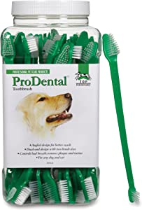 Top Performance ProDental Dual-End Toothbrushes — Convenient Toothbrushes for Cleaning Pets' Teeth, 50-Pack