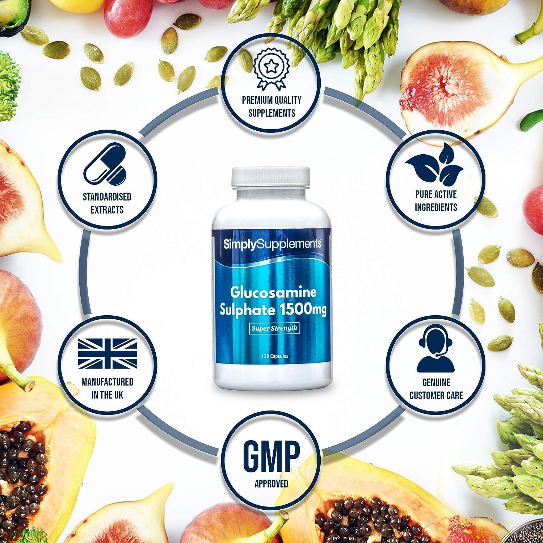 Sulfato de Glucosamina 1500mg - Dos Frascos de 120 cápsulas - Hasta 8 meses de suministro -Para el cuidado de las articulaciones - SimplySupplements