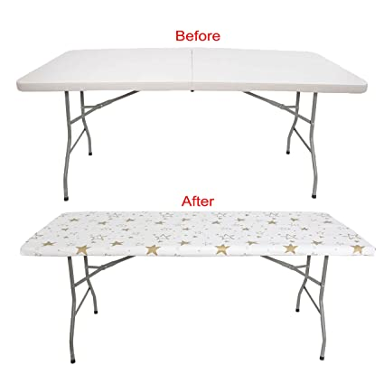 PARTY TABLECLOTH 6 FOOT FOLDING TABLE. Fitted Table Cloth For 6 Foot   Fits  Table