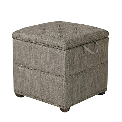 Outstanding Joveco Storage Ottoman Button Tufted Nailhead Fabric Dark Brown Alphanode Cool Chair Designs And Ideas Alphanodeonline