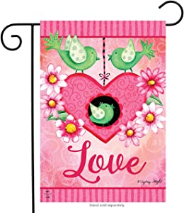 "Briarwood Lane Lovebirds Valentine's Day Garden Flag Primitive Hearts 12.5""x18"""
