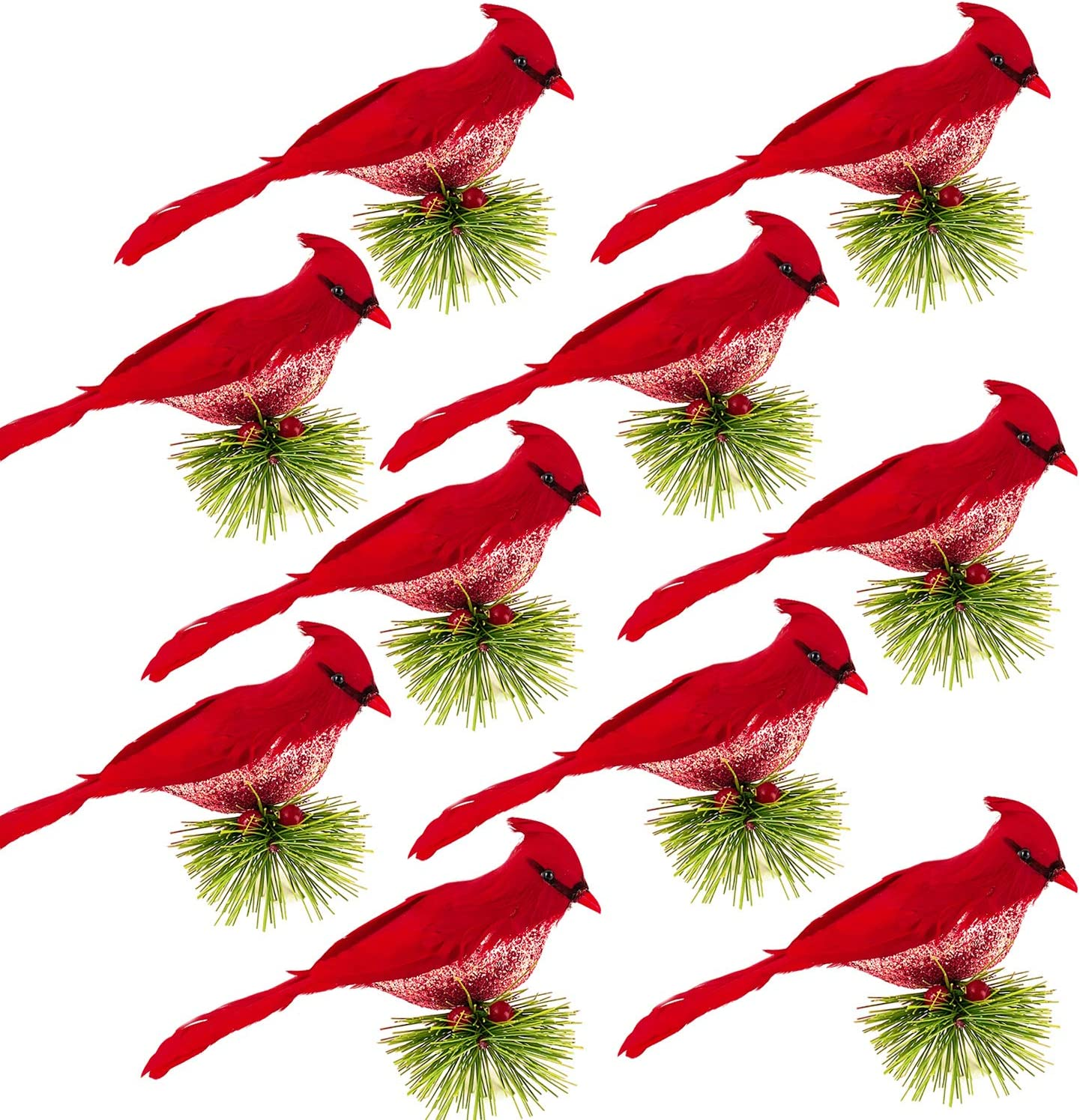 Alpurple 10 Packs Artificial Red Cardinal Birds Clip on Pine Branche -Christmas Realistic Feathered Birds with Clip for Christmas Tree Ornament Decorations, Arts and Crafts (Red)