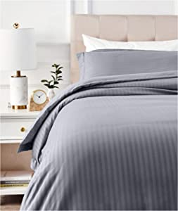 AmazonBasics Deluxe Striped Microfiber Duvet Cover Set - Twin or Twin XL, Dark Grey