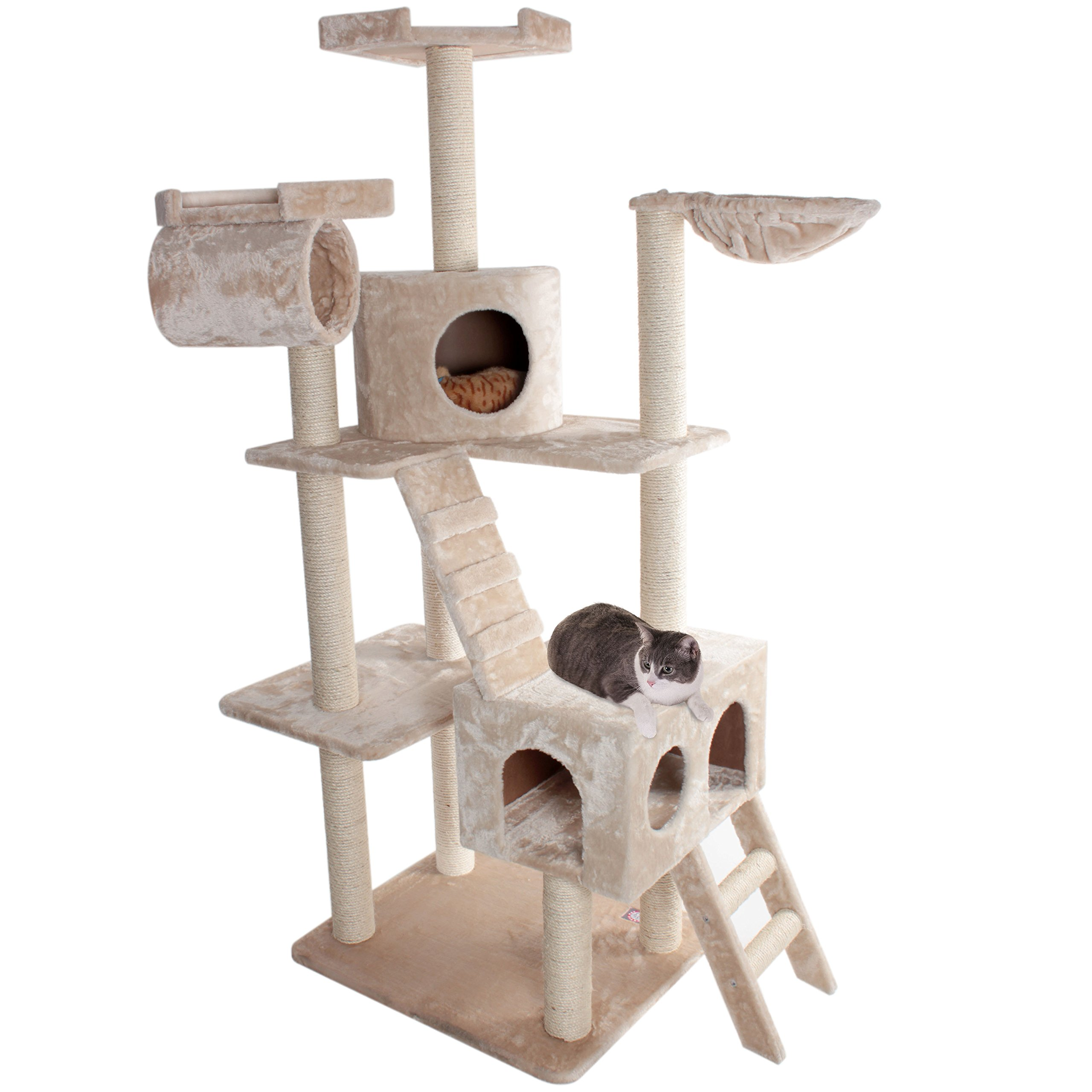 Majestic Pet Products 73 inch Beige Casita Cat Furniture Condo House Scratcher Multi Level Pet Activity Tree