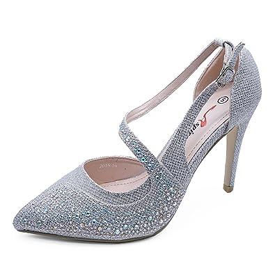 Damen Glitzersteine Silber Abend Party Ball Anle Riemen Elegant Pumps  Größen 3-7 - Silbern 7ff52c8a4d