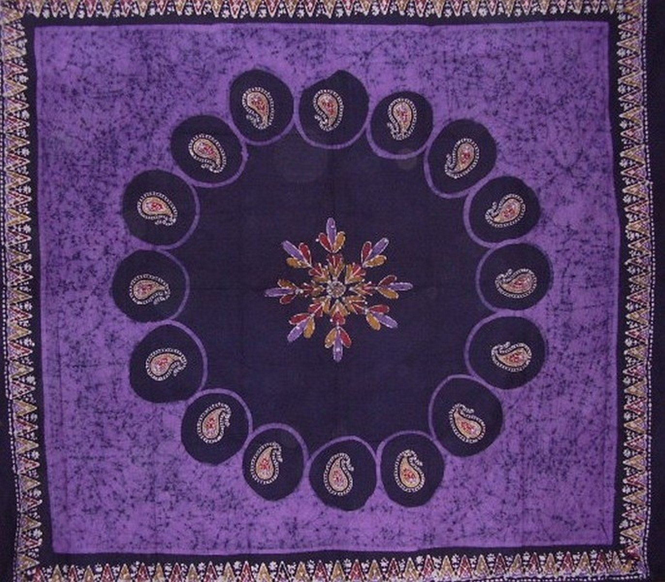 Batik Tapestry Cotton Bedspread 108'' x 108'' Queen-King Purple