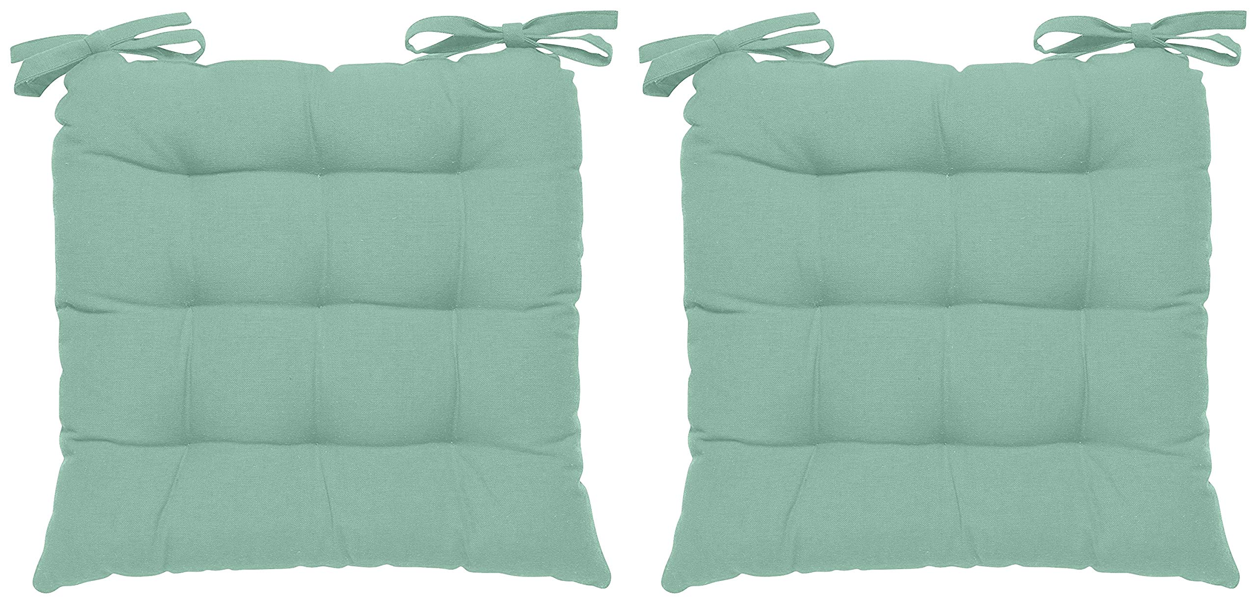 Encasa Homes 2 pcs Chair Pads 40x40x6 cm - Mint Green - Dyed Canvas Square Seat Cushions with Thick Cotton Filler & Ties, Large Size for Sitting, Pooja, Dining Table, Outdoor, Mint Green (B07MKFR832) Amazon Price History, Amazon Price Tracker