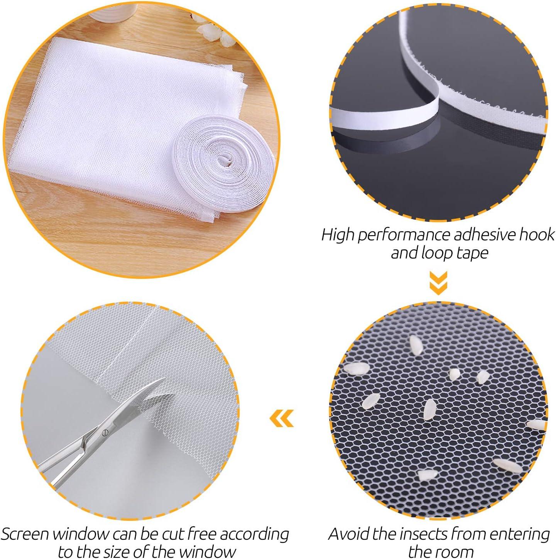 1.3x1.5 m Blanc CIT/ÉTOILE Moustiquaire Fen/être Ajustable contre Insectes et Mostiques Moustiquaire/Porte/Fen/être avec Bande Adh/ésive Auto-agrippante