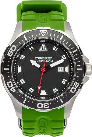Cressi Manta Reloj Submarino, Unisex Adulto, Plata/Negro/Verde, Uni: Amazon.es: Deportes y aire libre