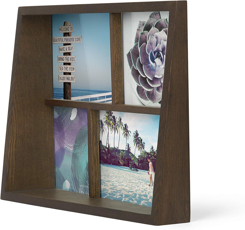pour 4 photos dont 2 de 10x15cm et 2 de 10x10cm UMBRA Edge Multi Frame Coloris bois naturel. en bois Cadre photo multivues Edge