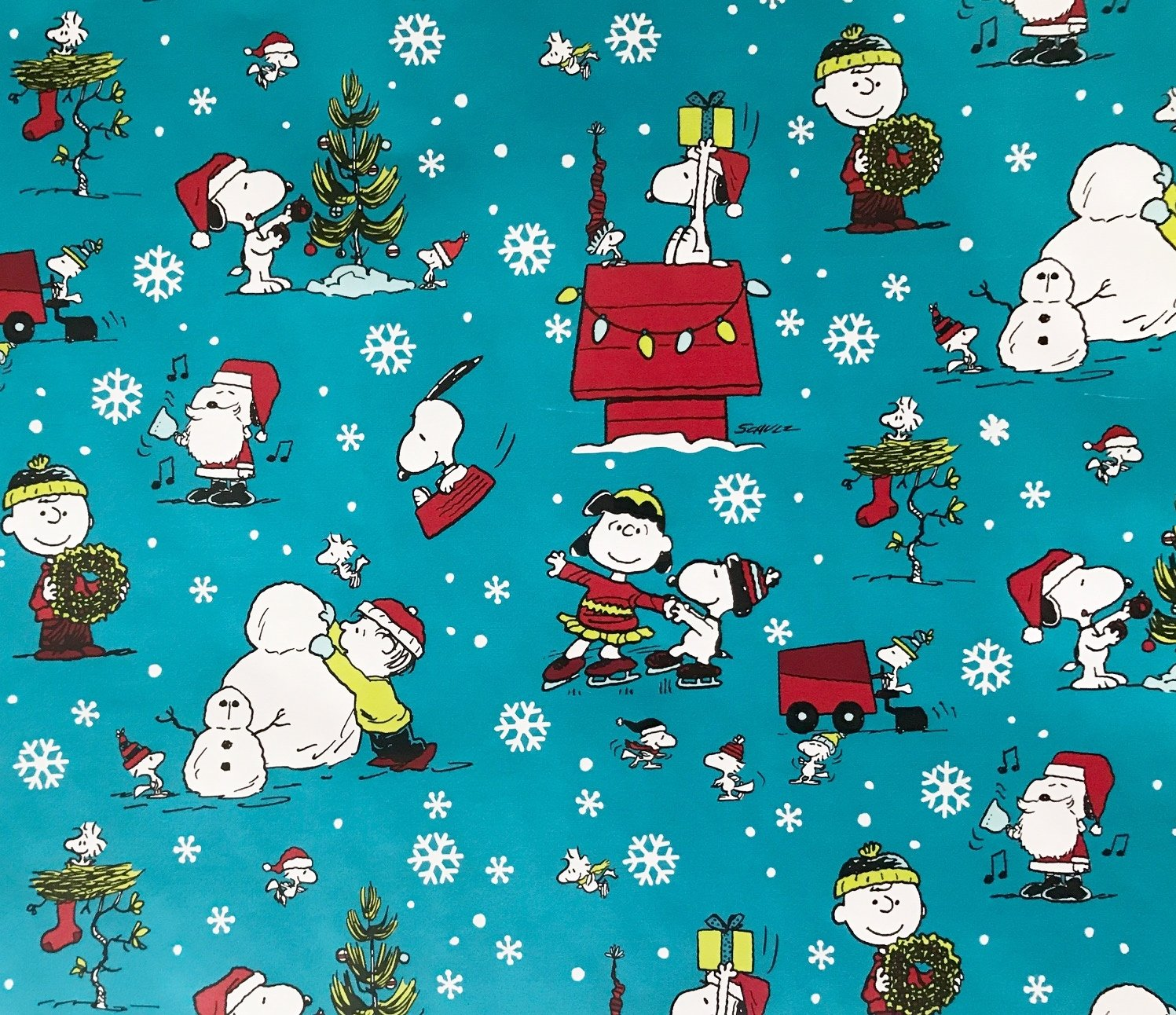 Amazon.com: Peanuts Christmas Wrapping Paper Gift Wrap - Snoopy ...