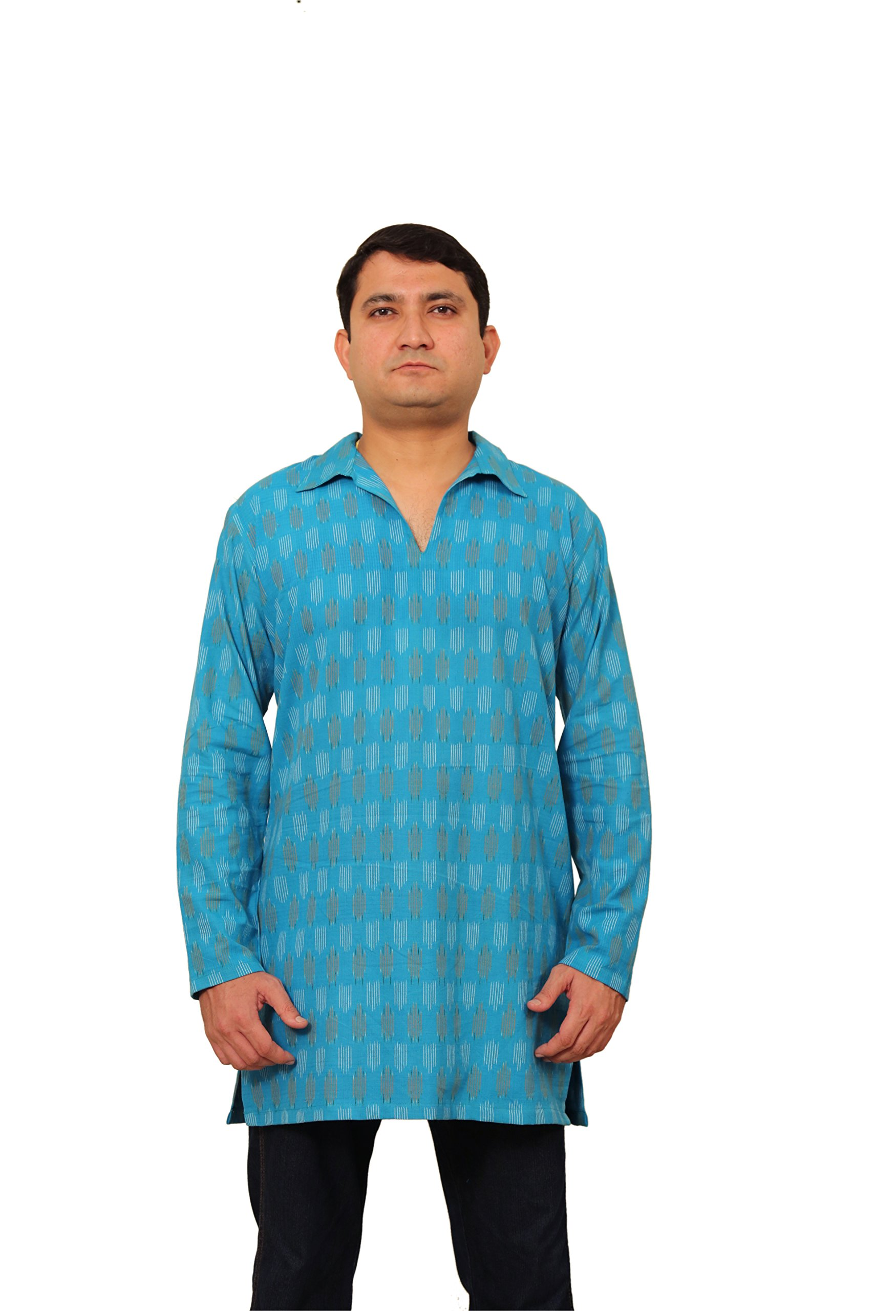 Viniyog Men's Handloom Cotton Ikat Weave Short Kurta